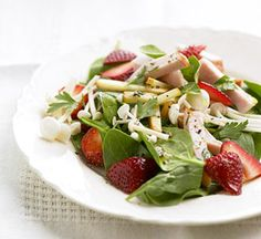 Strawberry Spinach Chicken Salad — pair with our Orange-Balsamic Vinaigrette dressing.