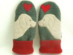 Wool Sweater Mittens Golden Retriever Mittens Eco by ForMyDarling, $36.00.
