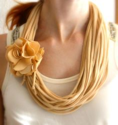 Gorgeous recycled T-shirt necklace with flower. Light cream. Handmade.