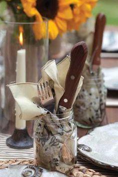 Round 'Em Up | Tuck napkin, fork, and knife into a mason jar