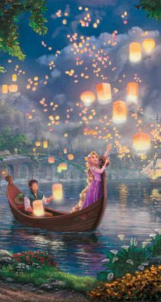 thomas kinkade disney Deams Collection Tangled canvas in Art Disney Rapunzel, Tangled Rapunzel, Princess Rapunzel, Tangled Wallpaper, Disney Phone Wallpaper, Iphone Wallpaper, Disney Images, Disney Pictures, Disney Kunst