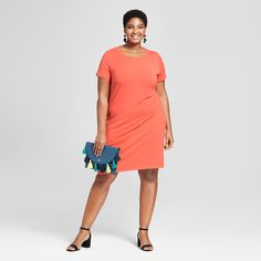 f130ca7b61a Women s Plus Size T-Shirt Dress - Ava   Viv™ Orange