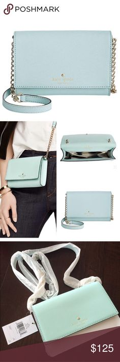 ✨NWT✨ Kate Spade Cedar Street Cami Blue Crossbody NWT! Authentic Kate Spade Cedar Street Cami leather mini crossbody in Graceblue (pale blue) leather. Fold over flap with magnetic closure. Goldtone hardware. Crossbody strap has 22 inch drop. Interior has one slip pocket. Protective covering still on strap to prevent the chain from scratching the leather during shipping. ***No Trades*** kate spade Bags Crossbody Bags