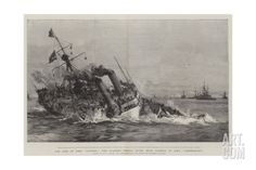 The Loss of HMS Victoria, the Flagship Sinking after Being Rammed by HMS Camperdown Giclee Print by William Lionel Wyllie at Art.com