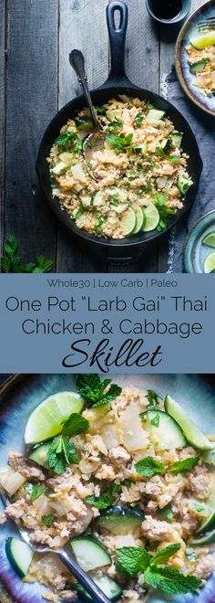 Larb Gai Thai Chicken Skillet - This easy, one pot dinner has all the flavors of Larb Gai, but in a healthy, low carb and whole30 approved weeknight dinner that is only 200 calories! | Foodfaithfitness.com | @FoodFaithFit