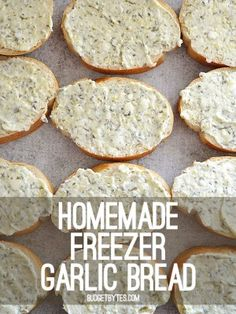 Homemade Freezer Garlic Bread Budget Bytes is part of Freezer meals - Make your own homemade freezer garlic bread slices, ready to bake on demand Bake two or ten at a time, ready in minutes! Step by step photos Freezer Friendly Meals, Make Ahead Freezer Meals, Freezer Cooking, Cooking Recipes, Freezer Desserts, Freezer Recipes, Budget Recipes, Frugal Meals, Budget Freezer Meals