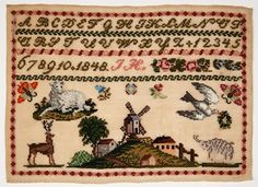 A 19th Century EUROPEAN Sampler Dated 1848 ~ Museums On Line