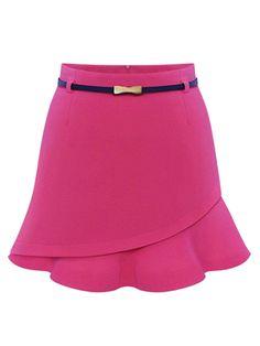 Rose Red Asymmetric Flounce Hem Belted Skirt | abaday