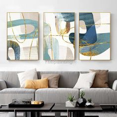 Gold Abstract painting acrylic paintings on canvas huge size original painting 3 pieces Wall Art hand painted Home Decor cuadros abstractos 3 Piece Wall Art, Framed Wall Art, Acrylic Painting Canvas, Abstract Wall Art, Acrylic Art, Rock Kunst, Wall Art Pictures, House Painting, Original Paintings