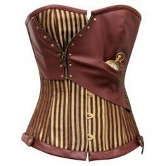 CD-468 - Brown and Gold Striped Overbust Corset on Wanelo