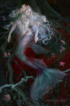 Artwork by Natalie Shau #mermaid #fantasy #sleeping #illustration