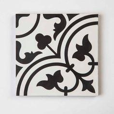 Black and white timeless design from Original Artesano's hand handcrafted cement tile. Tiles Uk, Cement Tiles, Tiles Direct, Encaustic Tile, Vintage Tile, Tile Patterns, Timeless Design, Vintage Designs, Tile Floor