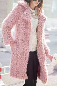 Pink Fluffy Longline Coat - US$23.95 -YOINS