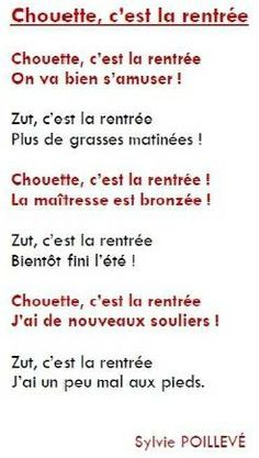 la rentrée poème - Google Search Core French, Kids Poems, Grande Section, Definitions, Image Search, Teaching, Songs, Creativity, Outfit
