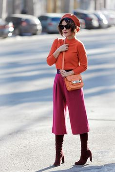 street style photo with culottes, culottes look, culottes outfits, how to wear culottes,