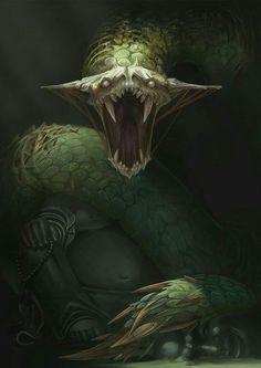 Green snake, basiliskus, anaconda, python epic concept art creature design in. Dark Creatures, Mythical Creatures Art, Mythological Creatures, Magical Creatures, Dark Fantasy Art, Fantasy Artwork, Snake Monster, Monster Art, Monster Design
