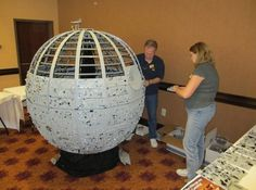 · LEGO Certified Professional Builder Dan Parker creating a 5 foot Death Star at BrickMagic 2012 ·