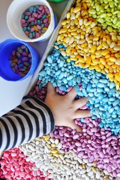 Create a scented sensory play experience for your kids using rainbow beans. This recipe is great for open-ended play with preschoolers. Sensory Tubs, Sensory Activities, Infant Activities, Sensory Play, Indoor Activities, Spring Activities, Free Activities For Kids, Crafts For Kids, Family Activities
