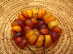 """Natural Antique African Amber Beads 