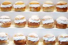SEMLOR!!!! Delicious cardamom flavored buns filled with almond paste and whipped cream! We eat them for Lent.