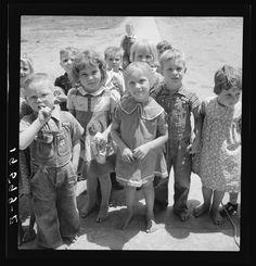 Children who attend nursery school. California. Farmersville camp Photographer Dorothea Lange Created May 1939 Photogrammar
