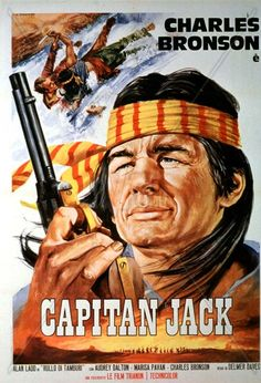 """DRUM BEAT (1954) - Alan Ladd - Charles Bronson as Modoc war chief """"Captain Jack"""" - Directed by Delmer Daves - Warner Bros. - Movie Poster."""