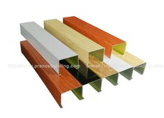 Seven steps to make wood grain aluminum U- square tube ceiling The aluminum U- square tube ceiling is an open aluminum ceiling. The maximum benefit of the open ceiling is to facilitate the convection and exchange of indoor and outdoor air. Baffle Ceiling, Open Ceiling, Metal Ceiling, Building Materials, Wood Grain, Benefit, Tube, Indoor, Texture