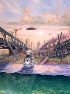 A Dalek glides from the Thames to confront the Doctor and Ian in a future London devasted by plague and destruction. Dalek Invasion of Earth Doctor Who Books, Doctor Who Art, Doctor Who Illustration, Dr World, Classic Doctor Who, Second Doctor, Dalek, Time Lords, Dr Who