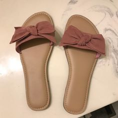 Shop Women's Time and Tru Pink size 8 Sandals at a discounted price at Poshmark. Description: Blush pink, suede-like sandals, WORN ONCE. Shoes Flats Sandals, Bow Shoes, Fashion Slippers, Fashion Sandals, Fancy Shoes, Cute Shoes, Starfish Sandals, Baskets, Stylish Sunglasses