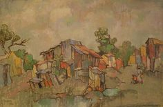Shanty Town by Gregoire Boonzaier. Landscape Art, Landscape Paintings, Acrylic Paintings, South Africa Art, South African Artists, Art Database, Minimalist Art, Artist Art, Impressionism