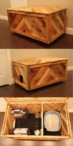 All in one cat box or blanket chest made out of reclaimed pallet wood. #catsdiytoy