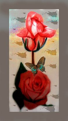 Pink Rose 3 Painting by Saribelle Rodriguez   ***Colored pencil artwork with a digital art touch   ***Artwork by Saribelle Rodriguez
