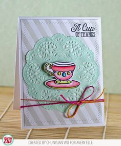Chunyuan Wu for Avery Elle using Finished Frames die, Tea Time stamp and dies and Primary Chameleon Pen Set. The patterned paper is from our Neutral Collection.