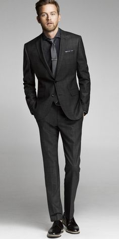 Express Mens Windowpane charcoal suit - I like this for Tony and he like suits! Gentleman Mode, Gentleman Style, Mens Fashion Suits, Mens Suits, Groom Suits, Groom Attire, All Black Suit, Terno Slim, Charcoal Suit