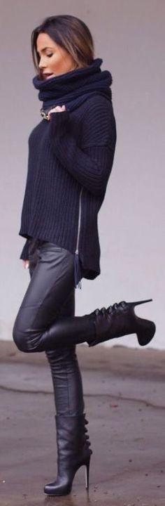 #winter #fashion / all-black everything