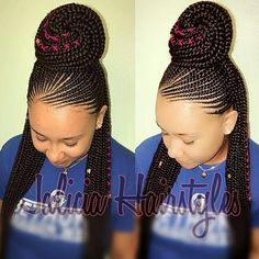 Have you been swooning over the hottest hairstyle of 2017 – Alicia Keys braids? We've compiled our top ideas for styling your cornrows.Cornrows have been around for many years now and are one of the most popular protective styles sported by African women. Braided Cornrow Hairstyles, Braided Hairstyles For Black Women, African Braids Hairstyles, Braided Ponytail, Ponytail Hairstyles, Girl Hairstyles, Hairstyles 2018, Half Cornrows, 1980s Hairstyles