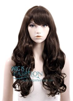 "24"" Long Curly Dark Brown Fashion Synthetic Hair Wig NW035"
