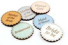 Perfect for bridal showers or rehearsal dinners, these wooden name tags can be customized to match your wedding colors. This is a great way to help