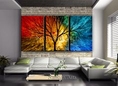 LARGE LANDSCAPE PAINTING Expressionist Wall Art Original Tree