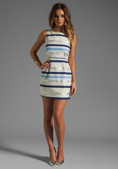 BB DAKOTA Delaine Stripe Dobby Dress in Multi Blue at Revolve Clothing - Free Shipping!