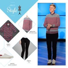Ellen's Look of the Day: gray and red striped sweater, red plaid button up, black pants and shoes