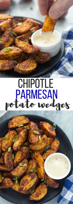 These Chipotle Parmesan Potato Wedges are so easy to make — just toss potatoes in some oil and spices, bake until crispy and serve! Perfect for a game day appetizer or dinner side dish! Includes how to recipe video | appetizer recipe | side dish recipe | spicy | cheesy | easy recipe | healthy recipe | homemade fries