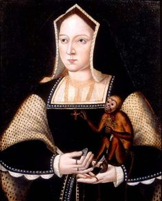 Catherine of Aragon wearing somber black punctuated with white pearls.  She uses pearls to mark boundaries in her hood (or the coif under it), her neckline, and sleeves.
