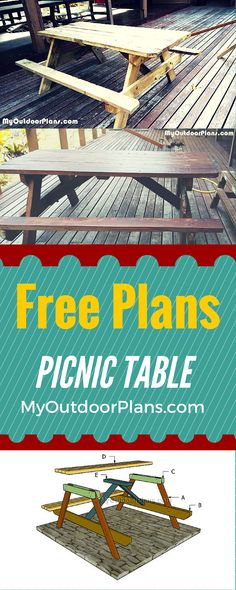 Learn how to build a picnic table - Easy to follow plans and free instructions for you to make a wooden picnic table. Plans at myoutdoorplans.com