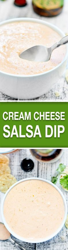 This Cream Cheese Salsa Dip requires two ingredients and 30 seconds of prep! It's addicting, it's creamy, it's so easy, and the spice level is up to you! showmetheyummy.com #creamcheese #salsa #snack