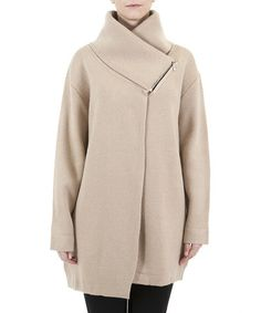 Take a look at this Beige Asymmetrical Wool-Blend Coat by Lavand on #zulily today!