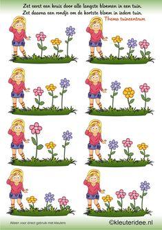 Zoek de langste en kortste bloem , thema tuincentrum, juf Petra van kleuteridee ,search the longest and shortest flower, free printable.