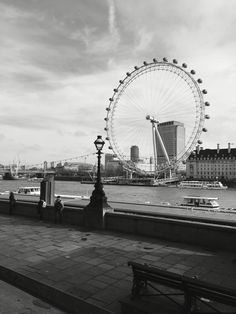 This is a black and white picture of London Eye taken on the morning of our arrival in London.