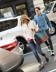 Olivia Palermo and her brother in New York