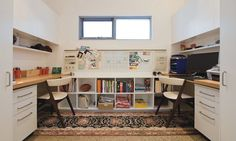 His and her office space- contemporary home office by Kristie Paul